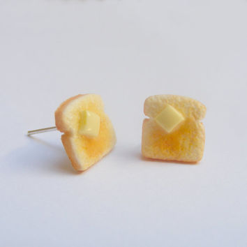 Food Jewelry Toast Earrings, Miniature Food Jewelry, Mini Food Jewellery, Polymer clay food, Toast Jewelry, Toast Charm, Kawaii earrings