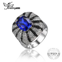 JewelryPalace Luxury 3.9ct Created Sapphire Natural Black Spinel Cocktail Ring Solid 925 Silver Jewelry for Women Fashion