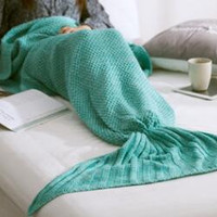 Mermaid Tail Sofa Knitted Blankets Single Office Nap Blanket B0013563