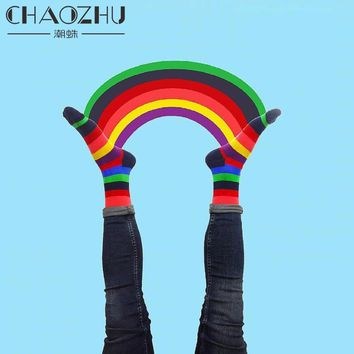 CHAOZHU 2017 New Fashion Color Striped Rainbow Socks Vintage Happy Socks Unisex Autumn Winter Cotton Casual Harajuku Calcetines