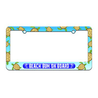 Beach Bum On Board Blue - Island Palm Trees - License Plate Tag Frame - Sea Turtle Design