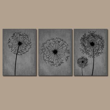 DANDELION WALL ART, Gray Black Bedroom Wall Art, Dandelion Canvas or Prints, Gray Black Bathroom Decor, Dandelion Pictures, Set of 3
