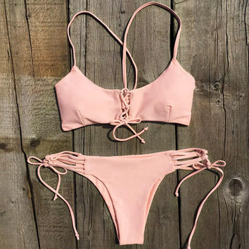 Retro Sweet Peach Lace Up Swimsuit Bikini Set