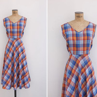 1970s Dress - Vintage 70s Plaid Dress - Summerfield Dress