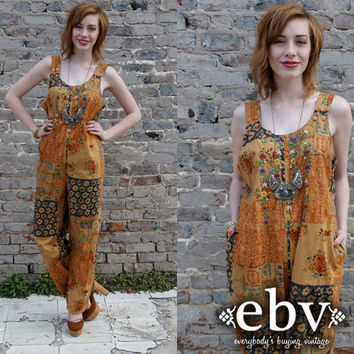 Vintage 90s does 70s Hippie Boho Embroidered Patchwork Overalls S M L