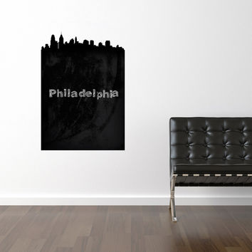 Philadelphia Chalkboard Skyline wall decal