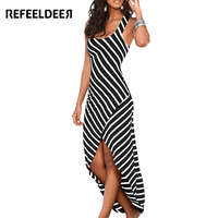 Refeeldeer Women Summer Dress 2017 Summer Sundress Female Striped Long Maxi Dress Tunic Boho Beach Dress Robe Femme vestidos