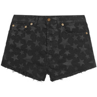 Saint Laurent - Cut-off printed stretch-denim shorts