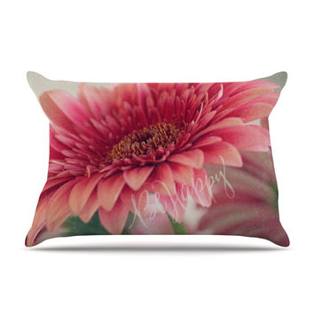 """Robin Dickinson """"Be Happy"""" Pink Floral Pillow Case"""