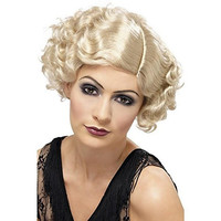 Smiffy's Womens 20s Flirty Flapper Halloween Party Costume Wig