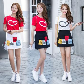 Korean Short Sleeved T-shirt + Skirt High Waist Skirt Two-piece Suit 3 Best Friends Gifts Twin Clothing Roommates A-line 2 Set