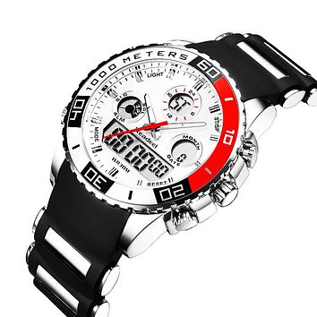 Mens Sports Watch with LED Display and Rubberized Band
