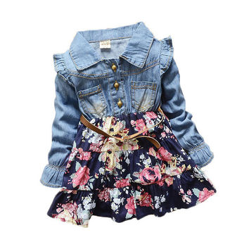 2017 Girls cowboy dress cotton dress baby Girls autumn spring dress kids girls dress 2 colors 1-2-3-4-5 Year