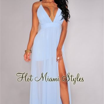 Sky-Blue CrissCross Back High Front Slit Maxi Dress