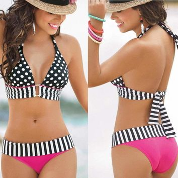 Women Swimwear Swimsuit Bandage Bikini Set Push-up Padded Bra Bathing Suit
