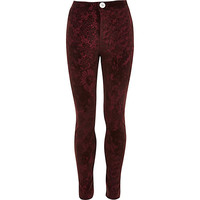 River Island Girls red flocked tube pant