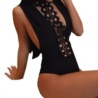 Lace Backless bodysuit overalls Swimsuit