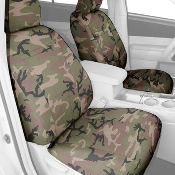 CalTrend Front Buckets Custom Fit Seat Cover for Select Nissan Titan Models - Camouflage (Retro)