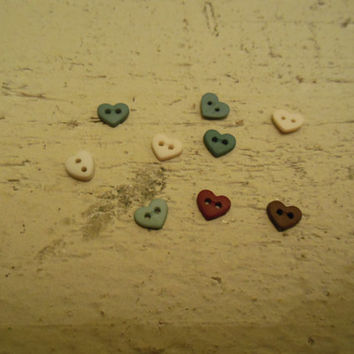 Set of 9 very tiny, multicolored heart buttons. Crafts/Sewing/Destash