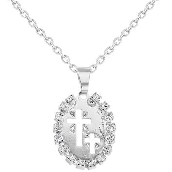 """Rhodium Plated Clear Crystal Medal Cross Pendant Necklace for Kids 16"""""""