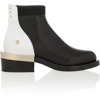 Givenchy | Black and white leather ankle boot with black and gold metal heel | NET-A-PORTER.COM