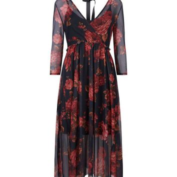 Black Floral Print Mesh Wrap Front Midi Dress | New Look