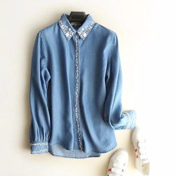 Chic winter blouses for women Tencel Denim Shirts ladies tops Long Sleeve Embroidery Blouse shirts casual Female Jeans clothing