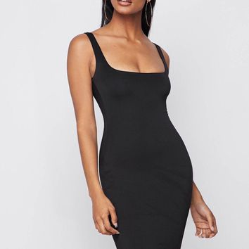 Same Skin Seamless Bodycon Dress Black