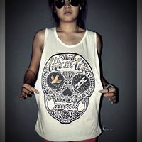Live And Let Live Skull Tank Top Shirt T-Shirt Women & Men Unisex Size M , L