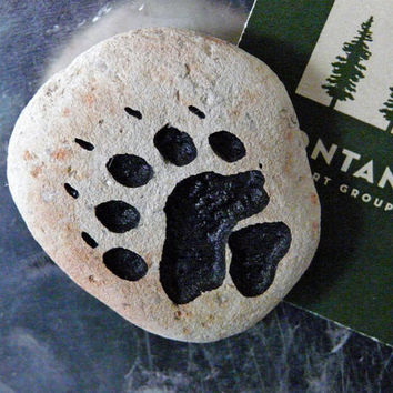 Bear Paw Print Engraved Stone Magnet For The Refrigerator, Filing Cabinet, Metal Bulletin Board or Anything Else That A Magnet Will Stick To