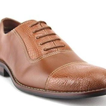 Ferro Aldo Men's 19509L Faux Gator Cap Toe Balmoral Oxfords Dress Shoes