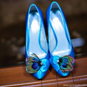 Wedding Accessory Bridal Feather Shoe Clips - PAON Peacock Feather Shoe Clips - Made to Order