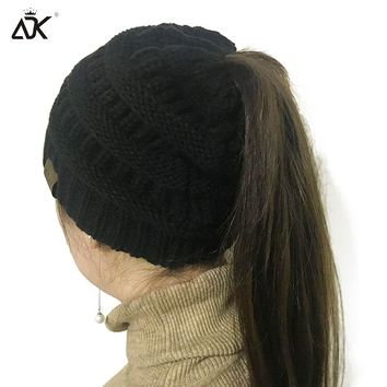 Solid Color CC Ponytail Beanie Hat Women Crochet Knit Cap Winter Skullies Beanies Warm Caps Female Knitted Stylish Hats