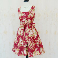 My Lady - Sweet Pastel Floral Dress Maroon Floral Dress Spring Summer Sundress Red Maroon Wedding Bridesmaid Dress Maroon Tea Dress XS-XL