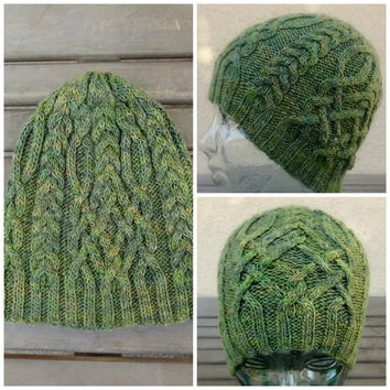 Green Cable Knit Hat, Winter Hat, Knit Cap, Ski Hat, Cable Beanie, Green Skull Cap, Wool Silk Blend Hat, Men Women Teen Hat