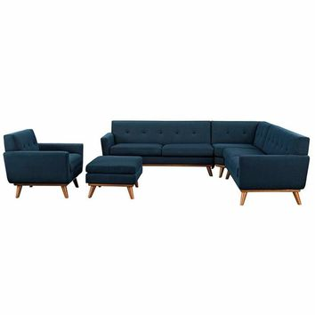 Engage 5 Piece Sectional Sofa, Azure