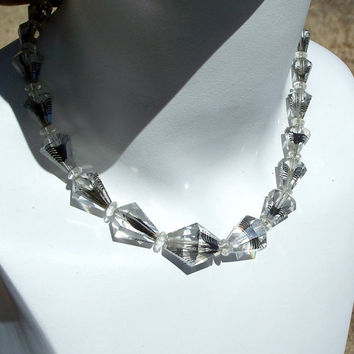 Vintage Spider Art Glass Necklace Clear Faceted Beads Unusual
