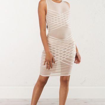 Nude Mesh Dress With Bandage Detail