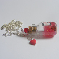 Love Potion No. 9 Bottle Necklace Pendant - Miniature Food Jewelry