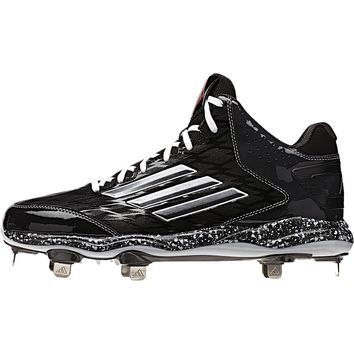 Adidas PowerAlley 2 Mid Men's Metal Baseball Cleat (Black-Carbon Met-Carbon)