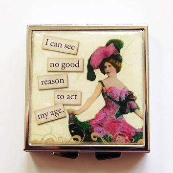 Pill Case, Pill Box, Funny pill box, Funny pill case, Act my age, 4 Sections, Square Pill case, Square Pill box, retro, humor  (4094)