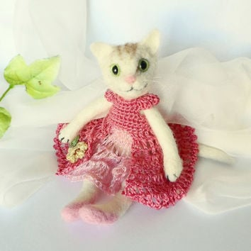 The Cat  Miniature Needle Felted OOAK art Doll Original Unique Gift