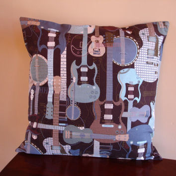Guitar Pillow Cover Muscian Gift by KaysGeneralStore on Etsy