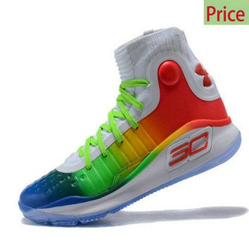 Cheap Priced 2018 Colorful Under Armour Curry 4 High Tops Rainbow For Sale Mens Basketball Shoe sneaker