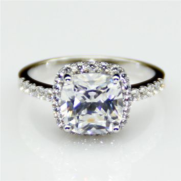 14KT White Gold Luxury Cushion Cut 2ct Lab Grown Diamond Halo Pave Accents Engagement Ring