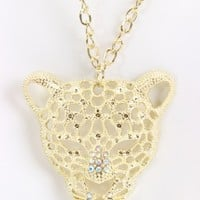 Gold Rhinestone Animal Head Pendent Necklace