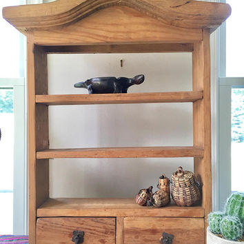 Mission Style Wooden Cabinet, Rustic Wood Spice Rack, Mexican Wood Display Cabinet, Large Standing Kitchen  Spice Holder,