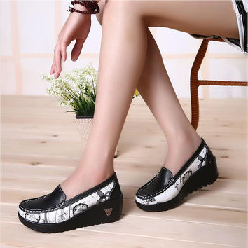 Women's Casual Patchwork Loafers Wedge Heel Shoes