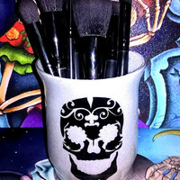 Sugar Skull Makeup Brush Holder - YOU CUSTOMIZE!