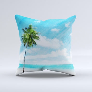 Paradise Beach Palm Tree ink-Fuzed Decorative Throw Pillow